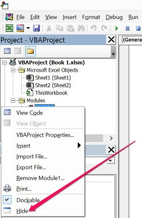 Option to hide Project Window of Visual Basic Editor