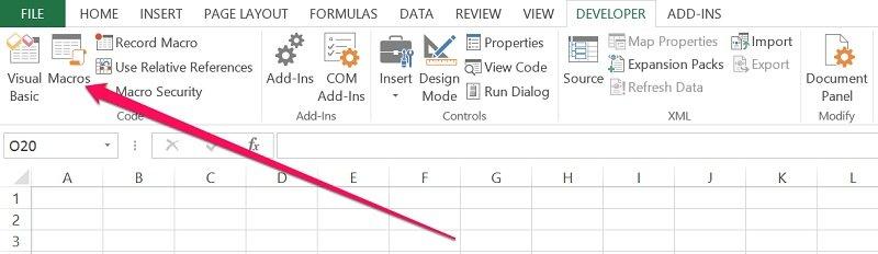 Macros icon in Developer tab