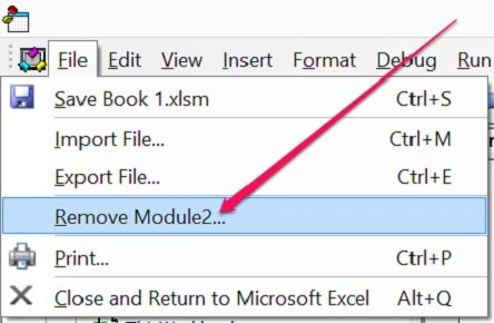 How to remove module in VBE using File menu