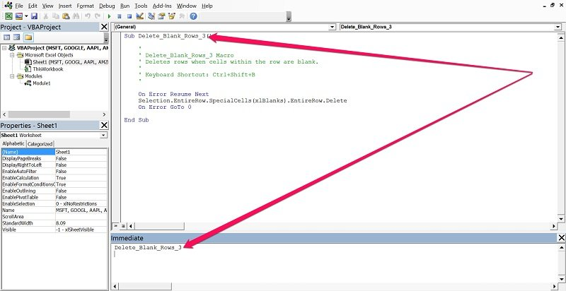 How to execute a VBA Sub procedure from Immediate Window