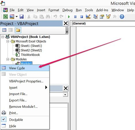 How to view code in Visual Basic Editor