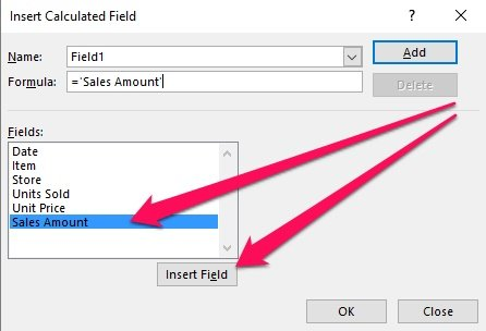 Insert Calculated Field > Fields > Insert Field