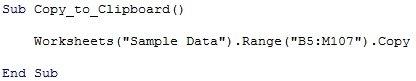 Excel Macro Copy Paste Example #1