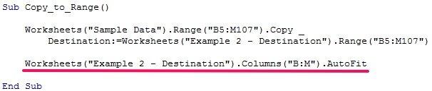Range.AutoFit method in Excel macro example