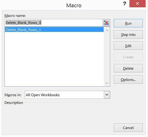 Screenshot of Excel's Macro dialog