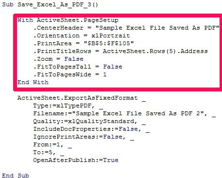 With... End With statement in VBA code to save as PDF