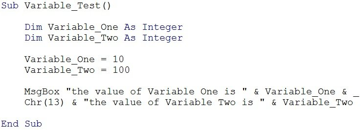 Printables Vba Sample Declaration Of Multiple Choice Worksheet Pdf define variables in vba declare and assign them expressions macro example for declaring a variable