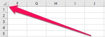 Excel worksheet with columns A to E hidden