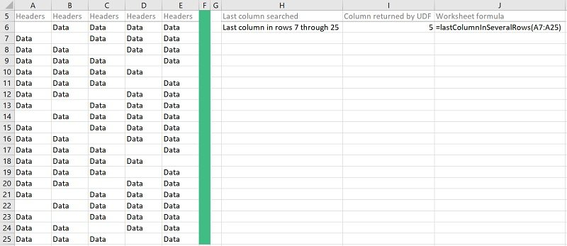 Macro finds the last column among several rows
