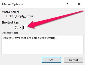 Assign keyboard shortcut to macro in Macro Options dialog