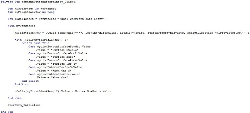 Macro code using Range.Find, Select Case, OptionButton.Value, TextBox.Value and other VBA constructs