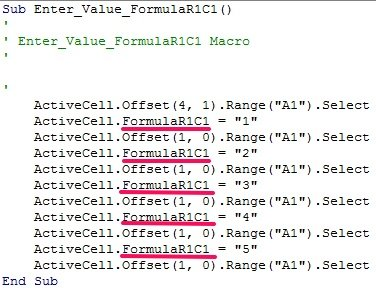 VBA code from Macro Recorder with FormulaR1C1 property