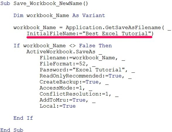 VBA code to name workbook showing InitialFileName