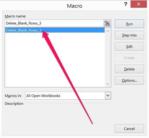 Double-click on macro in macro dialog