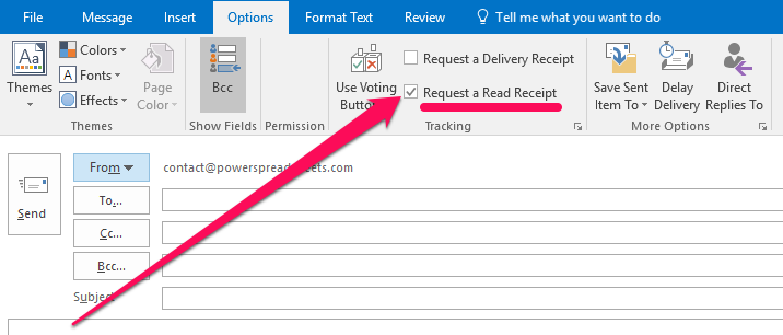 Request a Read Receipt in Outlook