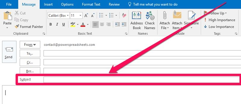 Subject field in Outlook