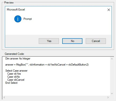 Display preview of message box and VBA code