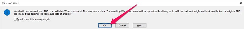 Word message about PDF conversion
