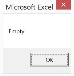 Screenshot of message box with Empty VBA data type