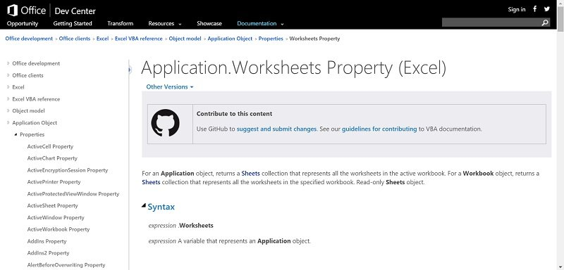 Help for VBE in MSDN