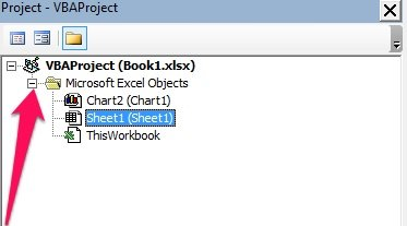 Microsoft Excel Objects in Project Window