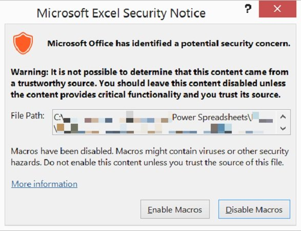 Security notice when opening an Excel workbook with macros