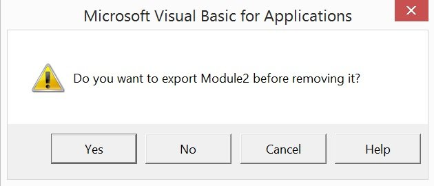 Dialog asking whether to export VBA module before removing