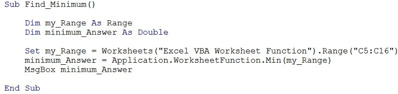 Example macro with Min worksheet function