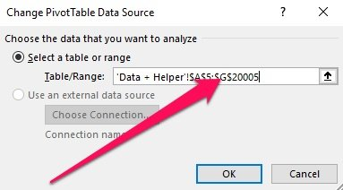 Change Pivot Table Data Source > Table/Range