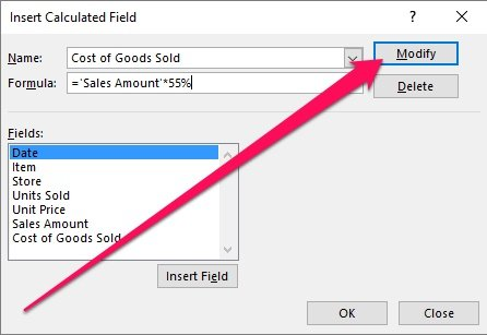 Insert Calculated Field and Modify