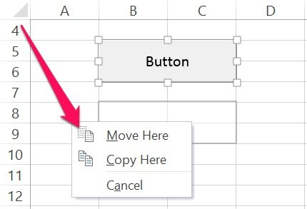 How to move a VBA Sub procedure button