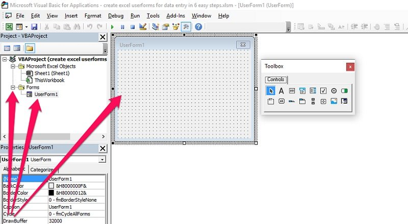 Forms and UserForm in Project Explorer, new UserForm