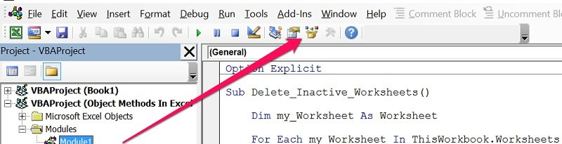 Object Browser button in VBE