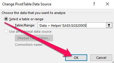 Change Pivot Table Data Source > OK