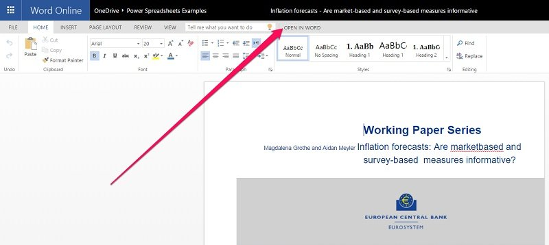Open PDF file from Word Online with Word