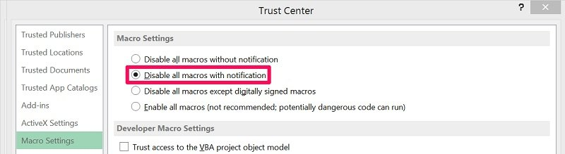 Disable all macros with notification option