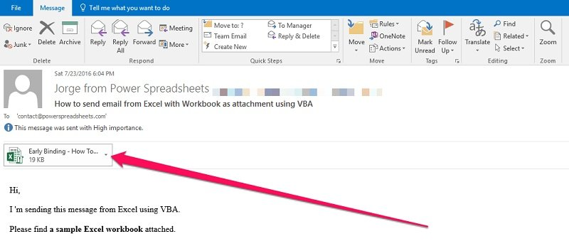 How to send email from excel with outlook using vba tutorial sample email created with excel vba altavistaventures Gallery