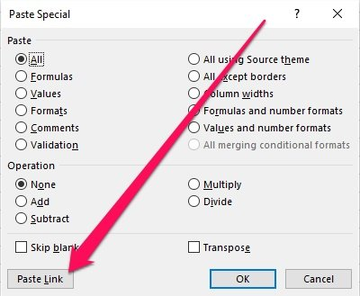 Paste Special dialog with Paste Link