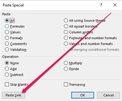 Paste Special dialog with Paste Link button