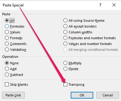 Paste Special dialog with Transpose option