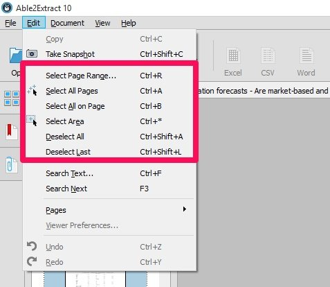 Edit menu to select PDF data