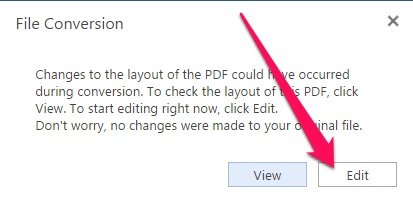 Edit PDF File button for conversion in Word Online