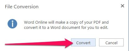 Convert PDF file to Word Online