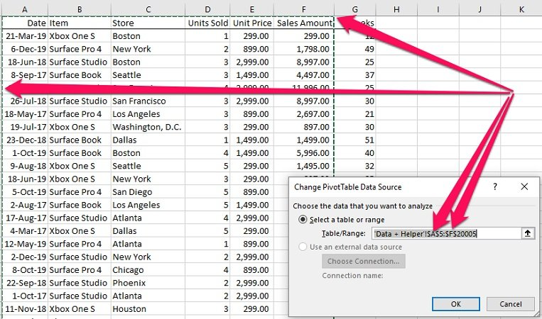 Source data and Change Pivot Table Data Source
