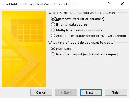 Pivot Table Wizard - Step 1 of 3