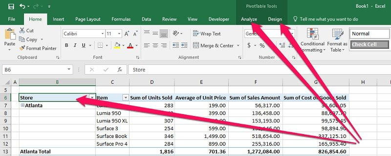 Selected PivotTable and contextual Ribbon tabs