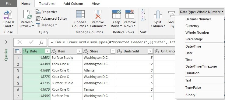 Query Editor; Ribbon; Home; Data Type