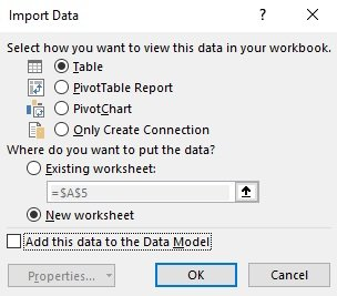 Import Data dialog box