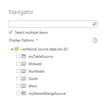Select multiple items in Navigator dialog box