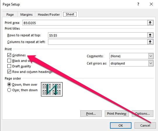 how to show gridlines in excel when printing